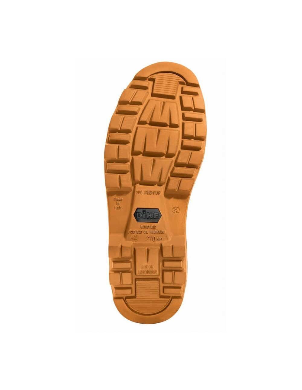Highly resistant grip sole on digger safety workwear boot.